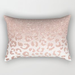 Trendy modern faux rose gold glitter ombre leopard pattern Rectangular Pillow