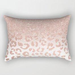Trendy modern faux rose gold glitter ombre leopard pattern Rectangular Pillow