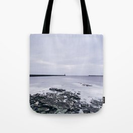 North and South Pier Lighthouse at dawn. Tynemouth, Northumberland, UK. Tote Bag