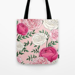 Rose Florals and Stems in Blush Tote Bag