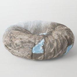 Mountain blue river Floor Pillow