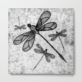 Bold black and white embroidered dragonflies on texture Metal Print