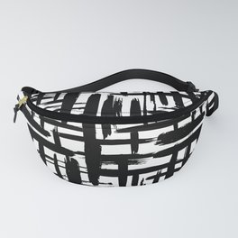 Scandinavian Abstract grunge pattern, paint strokes, grid, black on white background Fanny Pack