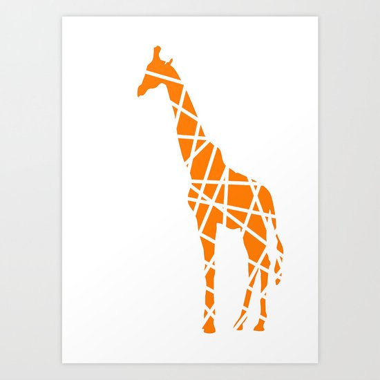 Modern Orange Giraffe Art Print