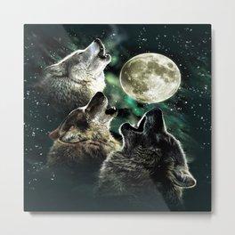 three wolf moon Metal Print