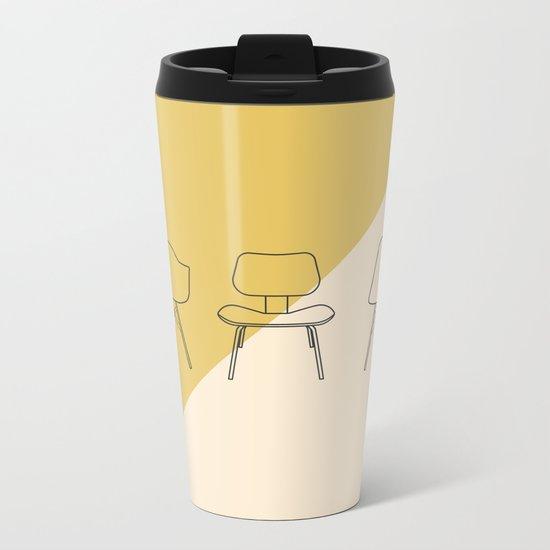Eames Chairs // Mid Century Modern Minimalist Illustration Metal Travel Mug