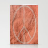 tote bag Stationery Cards featuring Peach Peace Sign (Bag Art) by AriesArtNW.com