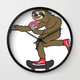 Skater Sloth loves donut Wall Clock