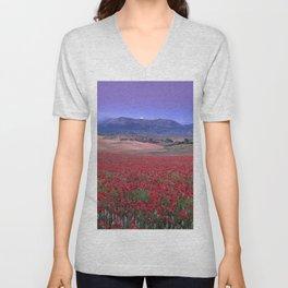 Big Fields Of Poppies. At Purple Sunset. Sierra Arana And Sierra Nevada Unisex V-Neck