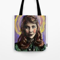 sylvia plath Tote Bags featuring St. Sylvia Plath by Buttons McTavish