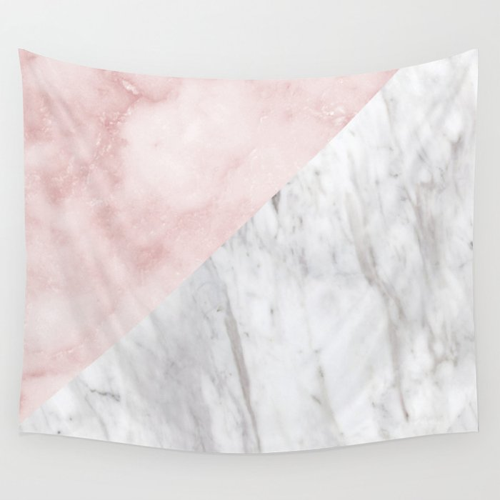 Marchionne Bianco & Silvec Rosa marble soft pink Wall Tapestry