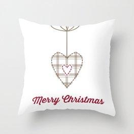 Christams heart white Throw Pillow