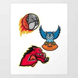 American Football and Basketball Wildlife Sports Mascot Collection Art Print