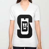 subway V-neck T-shirts featuring Subway by David Short