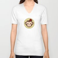 fez V-neck T-shirts featuring Monkey with Fez by JaggedGenius