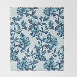 Morning Glories in Blue Throw Blanket