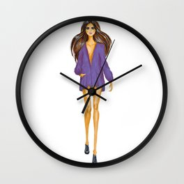 GIRL - Lady In BLUE - brown-haired - watercolor Wall Clock