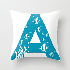 A is for Angelfish - Animal Alphabet Series Throw Pillow