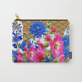 Abstracted Blue & Pink Flowers on Oriental Patterns Carry-All Pouch
