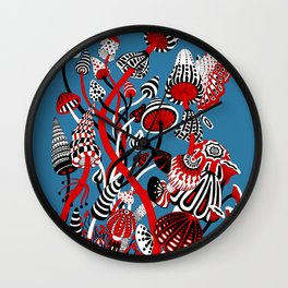 Magic Mushroom Red black blue Wall Clock