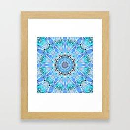 Sapphire Ice Flame, Light Bright Crystal Wheel Framed Art Print