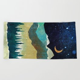 Snowy Night Beach Towel