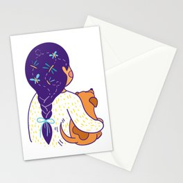 Purple haired Girl & Dog Stationery Cards