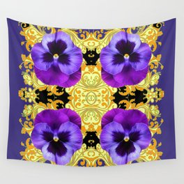 PURPLE PANSIES ON BLACK & GOLD BROCADE GARDEN Wall Tapestry