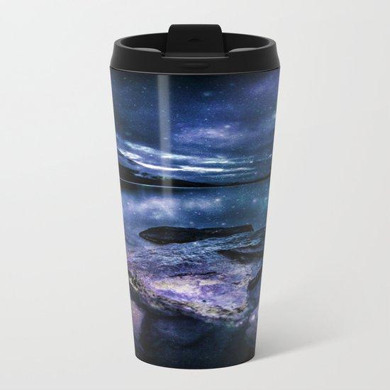 Magical Mountain Lake Indigo Teal Metal Travel Mug