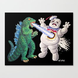 Godzilla vs Stay Puft Canvas Print