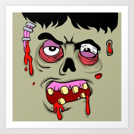 Cartoon Zombie face Art Print