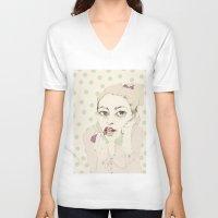lipstick V-neck T-shirts featuring lipstick by Cecilia Sánchez