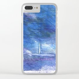 Chinese blue abstract watercolor Clear iPhone Case