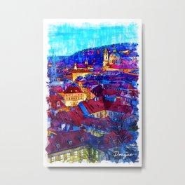 Prague by Night - Czech Republic Metal Print