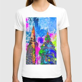 pyramid building and classic building exterior at San Francisco, USA with colorful painting abstract T-shirt
