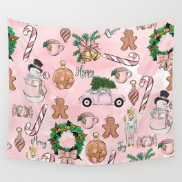 THE VERY PINK CHRISTMAS WATERCOLOR PATTERN Wall Tapestry