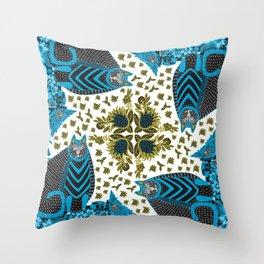 Blue Floral Cat in the Garden Throw Pillow