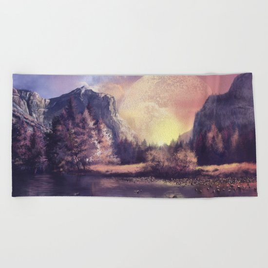 fantasy landscape Beach Towel