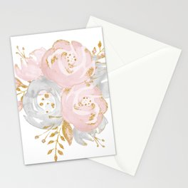 Roses Gold Glitter Pink by Nature Magick Stationery Cards