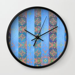Salmon and Sky Blue Patterned Stripes Wall Clock