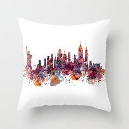 New York Skyline Silhouette Throw Pillow