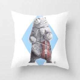 Cellist bear Throw Pillow
