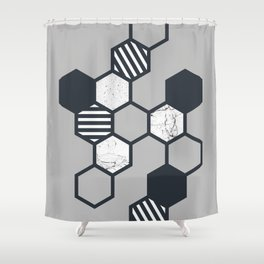 Marble Hex (Grey) Shower Curtain