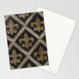 Fleur-de-lis mosaic tile pattern black and gold Stationery Cards
