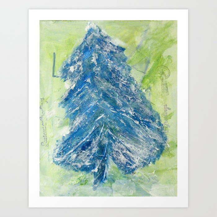 Acrylic Christmas Tree Painting.Snowy Christmas Tree Painting By Young Artist With Down Syndrome Art Print