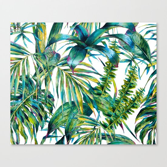 nature leaves exotic watercolor I Canvas Print