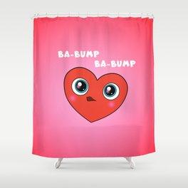 Red Googly Eye Heart Shower Curtain