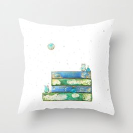 Alley Cats and the Blue Moon Throw Pillow