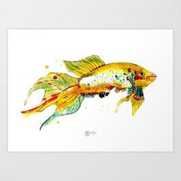 Watercolor Golden Fish Wall Art Print Art Print
