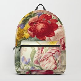 """Herman Henstenburgh """"Flowers in a Glass Vase with a Butterfly"""" Backpack"""